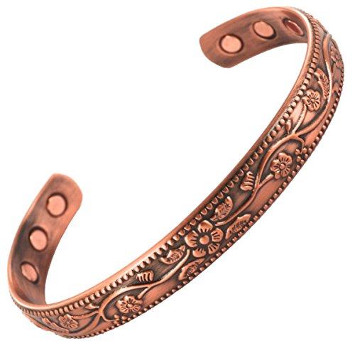 Magnatural® Magnet-Armband aus Kupfer, 6Starke Magnete, Arthritis, Heilung, Hilfe, Schmerztherapie, starke Manschette, Handgelenk Band für Damen oder Herren, inkl. Geschenkverpackung aus Samt