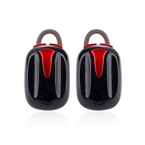 Dibiao Mini écouteurs intra-auriculaires rechargeables sans fil Bluetooth écouteurs Hifi casque stéréo avec boîtier d'alimentation portable (Color : Black With Red)
