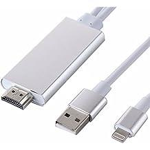 Cable adaptador HDMI 1080P de 8 pines con doble salida a USB y Lightning, conector súper rápido, de macho a macho, para iPad, iPhone 6, 6s Plus, color plateado