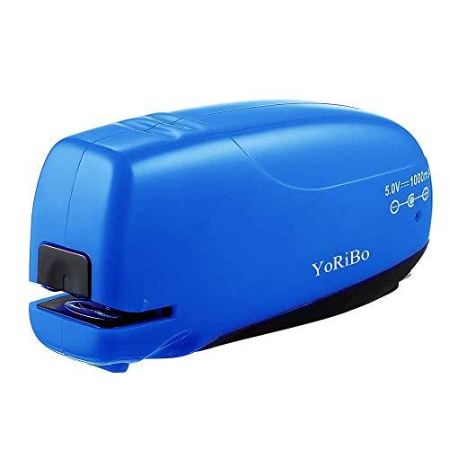 YoRiBo Grapadora Eléctrica Oficina con útil Quitagrapas, Capacidad para 16-20 Hojas, USB Cable Operada para la Oficina Eficiente y La Escuela en el Hogar, color Azul (USB cable incluido)
