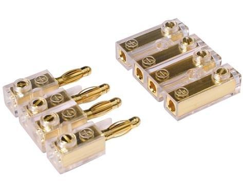 CAR HIFI Soundboard Kabel Stecker Verbinder Kupplung 4 polig - vergoldete Stecker! #0122P#