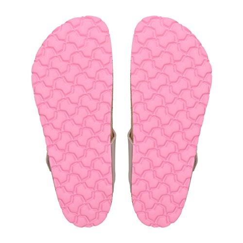 ZWEIGUT® -Hamburg- luftig #555 Damen Zehentrenner Sandalen Schuhe Sommer mit Leder-Komfort-Fußbett Silber