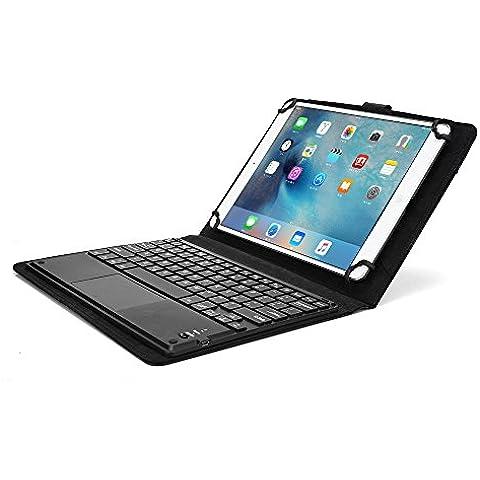 Funda Universal tipo Folio Cooper Cases (TM) Executive para Tablet de Samsung Galaxy Note 10.1 (N8000/N8010/LTE N8020) con Touchpad y Teclado Bluetooth en Negro (Teclado QWERTY extraíble; soporte incorporado; batería