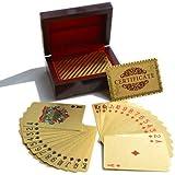 مجموعة تقليدية من بطاقات لعب البوكر مطلية بالذهب 24 قيراط مع صندوق خشبي مجّاني