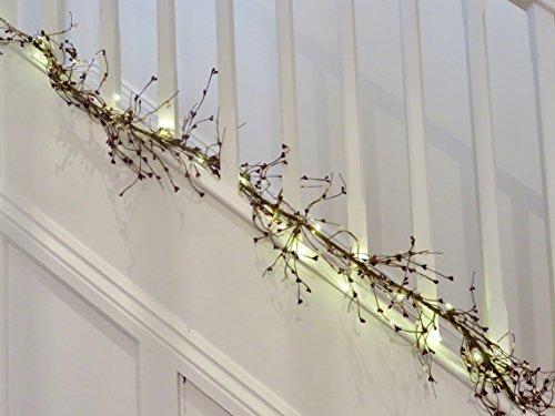 Burgund Rot & Weiß Perlen PIP Berry Hochzeit Girlande. An. 20Akku LED Micro Lichterkette & 3AA Batterien Gratis enthalten. 1,5m (Fast 5ft) in Länge.