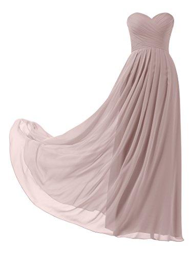 Remedios A-Linie Chiffon Brautjungfernkleider Lang Ballkleid Abendkleider Damen, Silber Rosa, 36