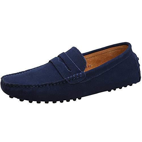 Yaer Herren Driving Loafers Flat, Premium Slip-on Wildleder Mokassin Bootsschuhe(Tiefes Blau,EU45)
