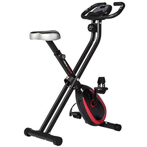 Ultrasport F-Bike 250 Fahrradtrainer mit Trainingscomputer und App, Handpulssensoren, faltbar, matt schwarz
