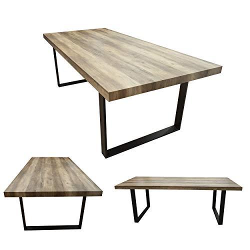 MOG Esszimmertisch 200x100 cm Kufentisch Holztisch Kufengestell Esstisch Tisch mit Tischplatte und Kufen - alle Größen und Farben (Akazie + Schwarz)