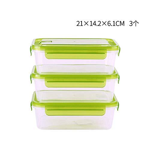 iHouse Rechteckige Aufbewahrungsbox für Kühlschränke x3, Lunchbox mit Mikrowellenheizung, Kunststoff transparent, Behälter für Kinder- und Erwachsenenlebensmittel, ohne BPA -