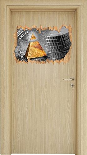 Illuminati Pyramide, black and white Dollar schwarz/weiß Holzdurchbruch im 3D-Look , Wand- oder Türaufkleber Format: 62x42cm, Wandsticker, Wandtattoo, Wanddekoration Amerikanischen Ein-dollar-münze