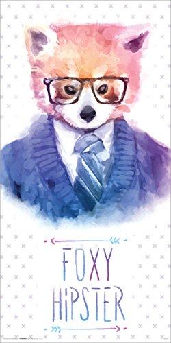 Culturenik Foxy Hipster Neuheit Lifestyle Deko Tier Watercolor Art Poster Print 12x 24 - Foxy Hipster