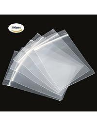 Sacs de Sachet Transparent 300st Sacs Zip Pochettes Plastique Alimentaire Fermeture à Glissière Fermeture Par Pression et Glissière Serrure à Glissière Pour Sac Scellage Réutilisable 8X12cm