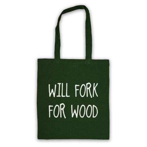Will Forchetta per legno, scritta con Slogan divertente Borsa Verde scuro