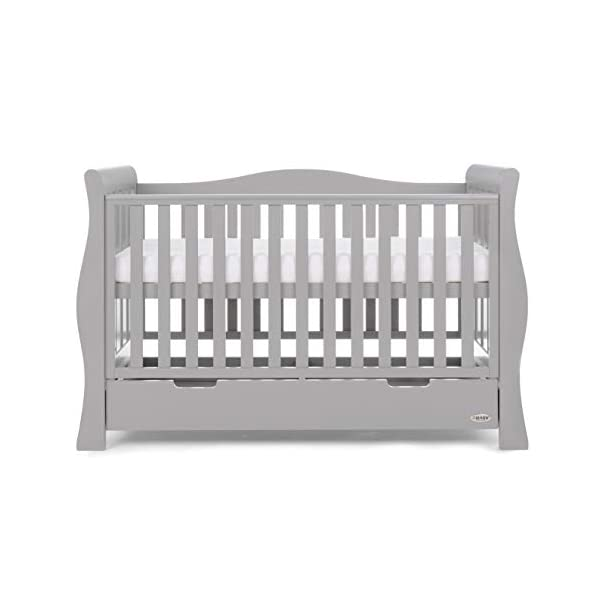 Obaby Stamford Luxe Sleigh Cot Bed, Warm Grey Obaby Adjustable 3 position mattress height Sides remove to transform into toddler bed Includes matching under drawer for storage 6