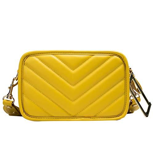 Linkay Damen Handtaschen Rechteckig gestreiften Leder Letter D Ribbon Bag Crossbody Taschen Umhängetaschen Mode Frauen Schultertasche (Gelb,) -