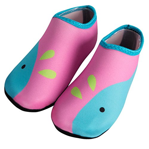 Janly® Children Swimming Fins Diving Socks Quick-Drying Skin Shoes Aqua Shoes Beach Water Sport Shoes Flat Seaside Shoes (6-7 Years Old, Pink)
