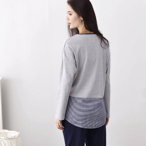 Oneworld Damen 100% Baumwolle Pyjamas Set zweiteiliger Schlafanzug Hausanzug Langarm Von Frühling bis Herbst C2307