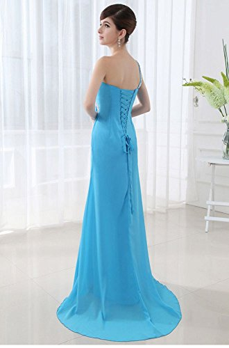 Beauty-Emily One Shoulder offene Chiffon lange Abendkleider Blau - Blau