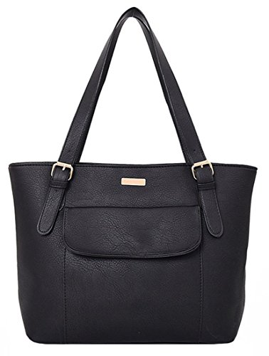 Kukubird Karina In Ecopelle Con Patta Frontale Tasca Dettaglio Top-manico Spalla Tote Handbag Black