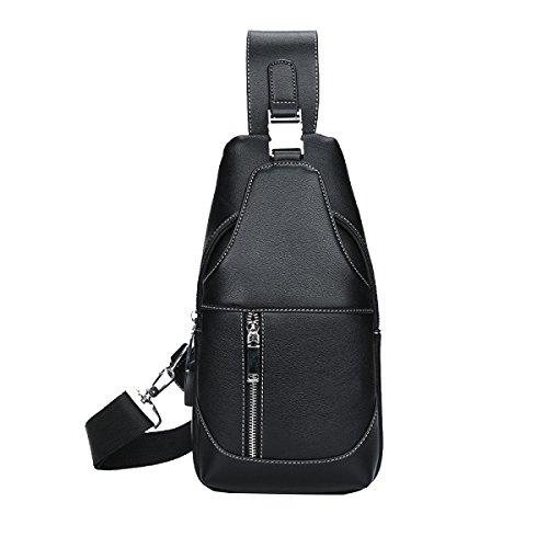 Yy.f Mode Stitching Diagonal Paket Mode-Stil Multifunktionale Koffer Herren-Casual-Tasche Diagonal Paket Brusttasche Black