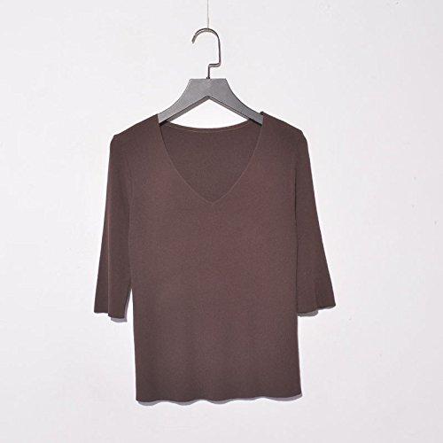 Xmy Federbelastete V-Ausschnitt, Ärmel Stricken Pullover Frauen Hedging Sau Kurz (7-Pocket auf dem Hemd und T-Shirt, Langarm-T-Shirt, Dunkelbraun sind Code