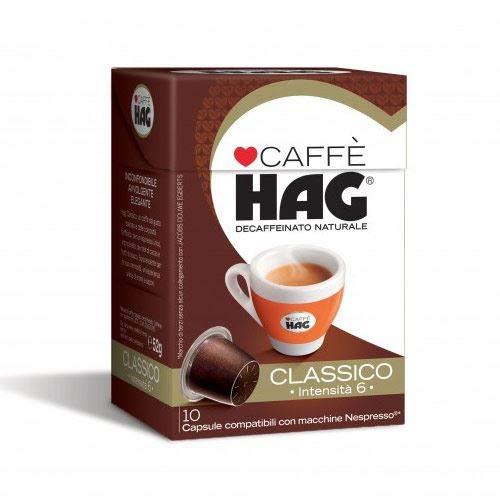 10 Capsule Caffe' Hag Compatibili Nespresso Decaffeinato Classico Dek