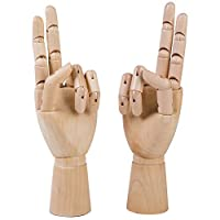 Wooden Sectioned Flexible Posable Hand 2 Pack Both Left Right Realistic Wood Mannequin Manikin Hand Figurine Drawing Sketch DIY Craft Painting Student School Art Supplies Accessories 9.84 Inches