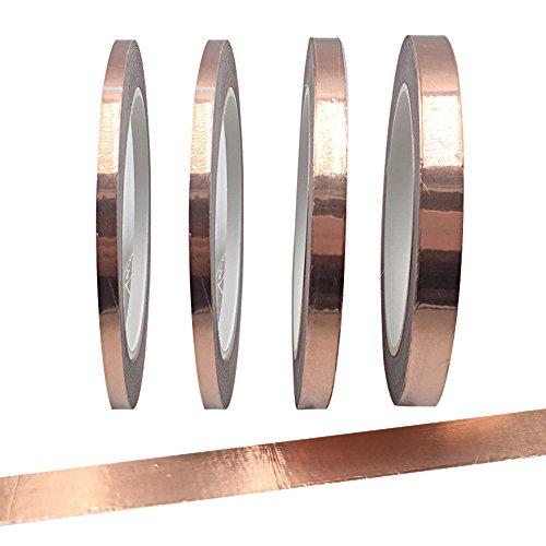gabbrein 4Stück Kupfer Folie Klebeband mit leitfähigen Klebstoff für gebeizt Glas, Kunst, Löten, Elektro-Reparaturen, Erdung, EMI Abschirmung 3 size