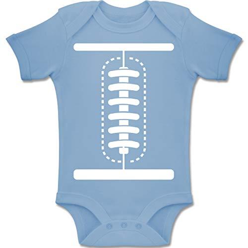 Shirtracer Karneval und Fasching Baby - Football Baby Kostüm - 6-12 Monate - Babyblau - BZ10 - Baby Body Kurzarm Jungen - 7 Zwerge Kostüm Baby