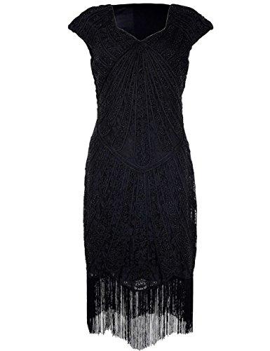 1920er Jahre Inspirert Perlen Art Deco Franse Flapper Kleid XS Schwarz (20er Jahre Kleid Schwarz)