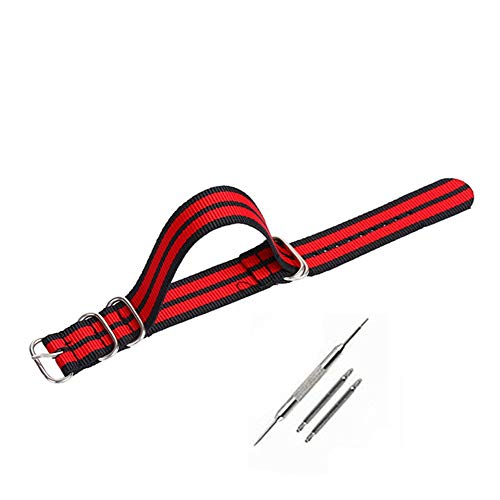 TianranRT Nylon Handgelenk Band Strap für Uhr Matt Runde Ringe Edelstahl Stahl Schnalle Armband Dus Die Bereift (Schwarz Rot, 20mm) - Antriebswelle Ring