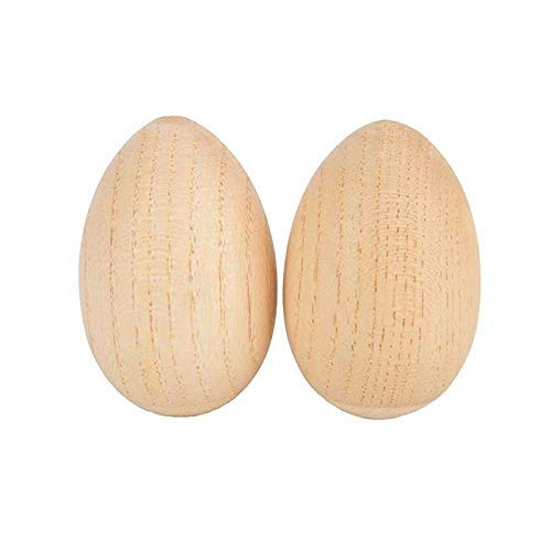 Fishyu 2Pcs Musical Wooden Egg Shakers Rhythm Rattle Percussion Instruments for Kids
