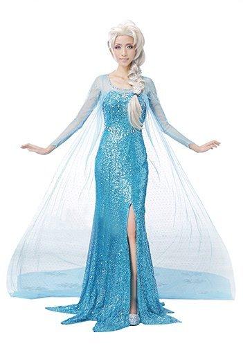 Anna und die Schnee-Koenigin Elsa Kostuem Kostuem Set waehlbar (Kostuem-Set Peruecke Set Schuhe) C319 (XS-Groesse (The Snow Queen Elsa Kleid))