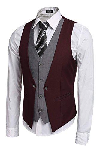 Coofandy Gilet de Costume Homme Veste sans Manche Casual Mariage Rouge Bordeaux Taille XL