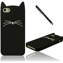 Dibujos Animados Estilo 3D Gato Modelado Silicona Funda Carcasa protector para iPhone 5 5S 5C 5G, Vistoso Suave y Elástico Prima Case Cover + 1 Lápiz óptico
