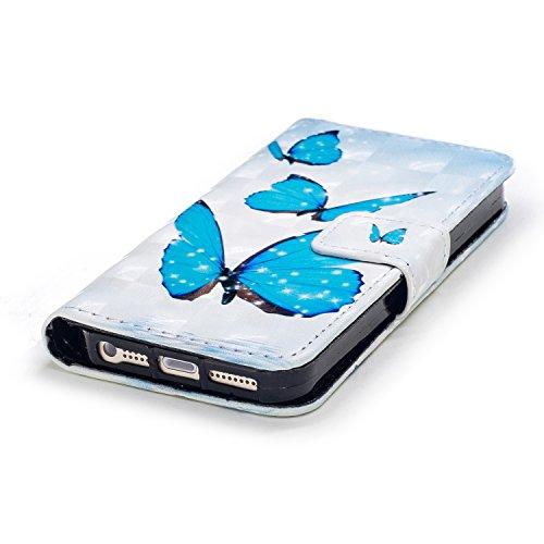 Portefeuille Coque pour iPhone SE,Coque pour iPhone 5S,Leeook Beau Créatif Bleu Papillon 3D Effect Motif Design étui en cuir PU Cuir Flip Magnétique Portefeuille Etui Housse de Protection Coque Étui C Bleu Papillon