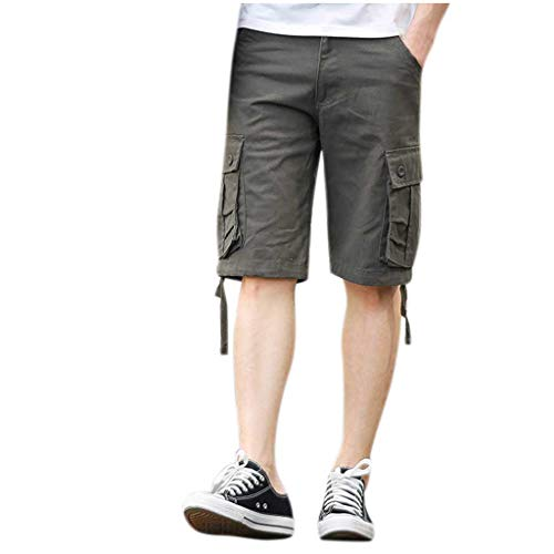 Chino Kurze Hose Sommer Bermuda Sport Jogging Training Stretch Shorts Fitness Vintage Regular Fit Sweatpants Baumwolle Qmber Mehrfach-Overalls Shorts Fashion Pant(AG,42) ()