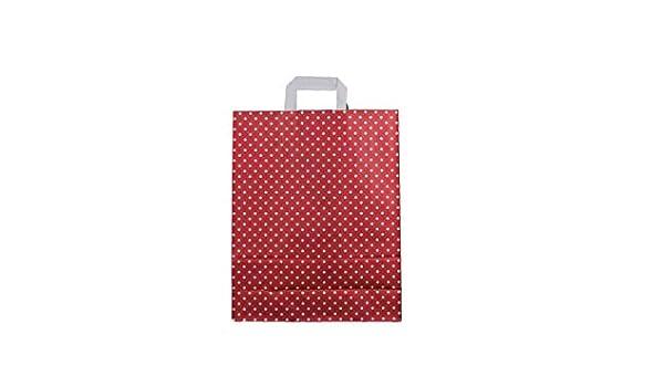 Papiertragetasche 32+12x40cm rot mit Punkten Gr/ö/ße 25 St/ück