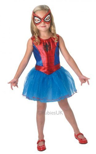 Girl Glitzer Kostüm (Spider-Girl Costume, Kids Girl Spider-Man Dress Outfit, Medium, Age 5 - 7, HEIGHT 4' 2
