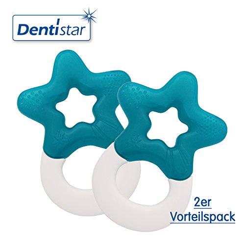 Preisvergleich Produktbild Dentistar® Beißring kühlend im 2er-Set - Stern - Zahnungshilfe Blau für Babys ab 3 Monate - Kühlbeißring Baby wassergefüllt - Made in Germany