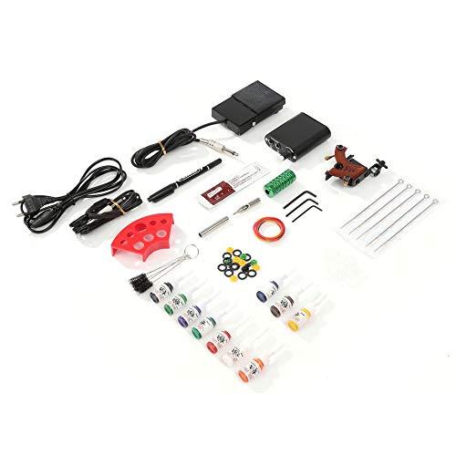 Professionelle Einweg-kit (WEINANA Komplette Tattoo Kits Professionelle Gun Machine Power Pedal 10 Farbtinten-Sets Ernährung Einweg-Nadel-Greifspitze EU-Stecker)