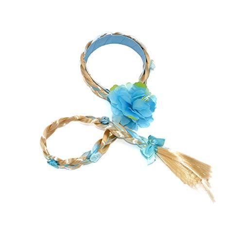Xiton 1PC Kinder Toupet Prinzessin ELSA Lange Perücke Cosplay Geflochtene Perücke Haarreif Verkleiden Zubehör Zöpfchenfrisur Für Kinder Mädchen (Blau)