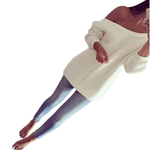 Pullover Gestrickt Sweatshirt Damen Ronamick Lange Ärmel Schulterfrei Stricken Sexy Einfarbig casual Top Blouse Outwear (Weiß, XL) (Stricken Lange Ärmel Weiße)