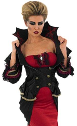 erdbeerloft - Unisex - Erwachsene Vampir Kostüm- Kleid, Jacke und Haarteil, 3XL, Schwarz (Vampir Kostüm Unterwelt)
