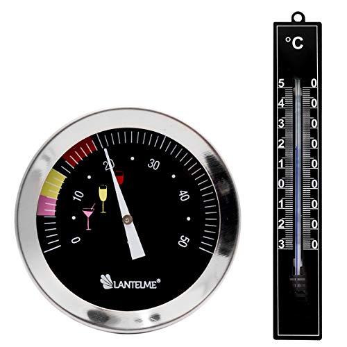 Lantelme 7413 Weinthermometer und Weinkeller Thermometer schwarz im Set - Weinflaschen Thermometer Wasserdicht aus Edelstahl