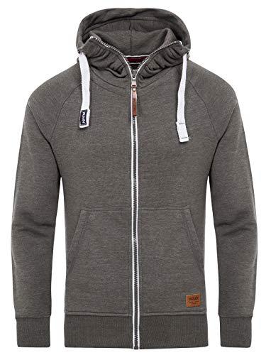 Yazubi Männer Kapuzenpullover Jacob - Graue Herren Hoodie mit Reißverschluss - Sweatshirt, Grau (Tornado 183907), L