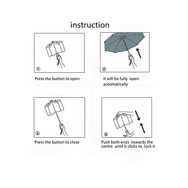 Poign/ée Ergonomique Anti-d/érapante avec Un Porte Parapluie Gratuit avec 10 Baleines Renforc/é Bestico Parapluie R/ésistant au Vent,Parapluie Pliant Ouverture et Fermeture Automatique Noir