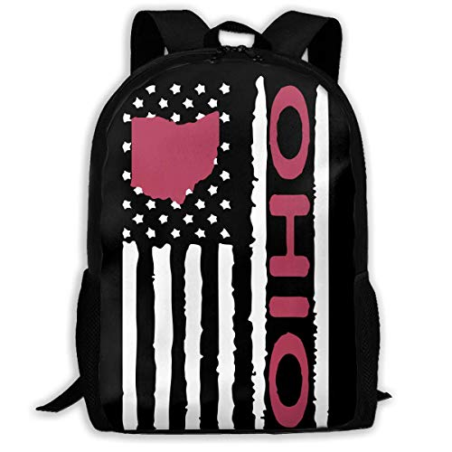 TRFashion Vintage Ohio State America Flag Fashion Outdoor Shoulders Bag Durable Travel Camping for Adult Backpacks Rucksack (Ohio Geburtstag State)
