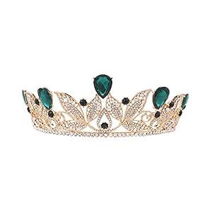 Pixnor Crystal Strass Hochzeit Braut Prinzessin Prom Haar Diadem Krone Stirnband (grün)